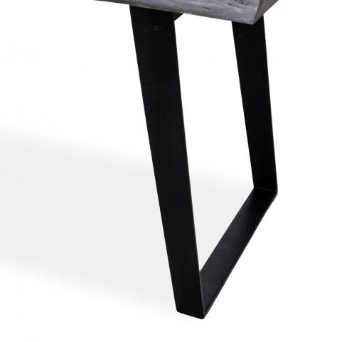 Стол лофт из массива большой, ДЖИВАН platinum black